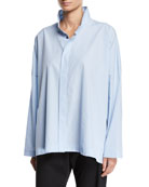 Eskandar Wide Mini-Gingham Button-Front Shirt