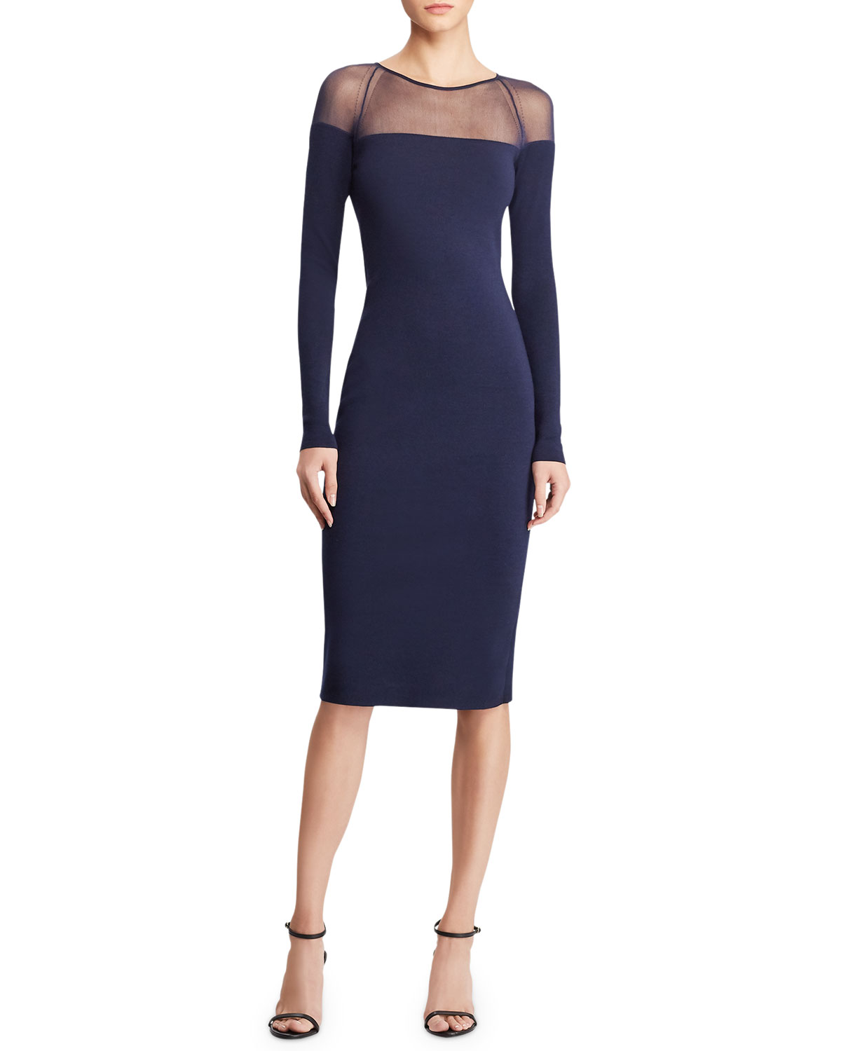 Long-Sleeve Illusion Body-Con Dress in Navy