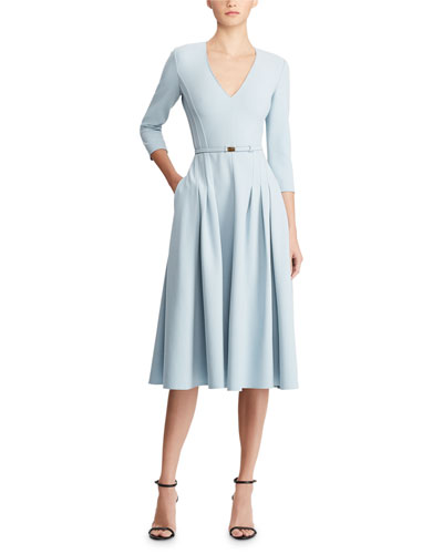Quick Look. Ralph Lauren Collection · V-Neck Belted Wool A-Line Midi Dress 2b001f97f