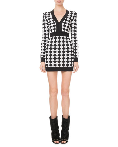 3d247df7 Quick Look. Balmain · Long-Sleeve Diamond Knit Mini Dress