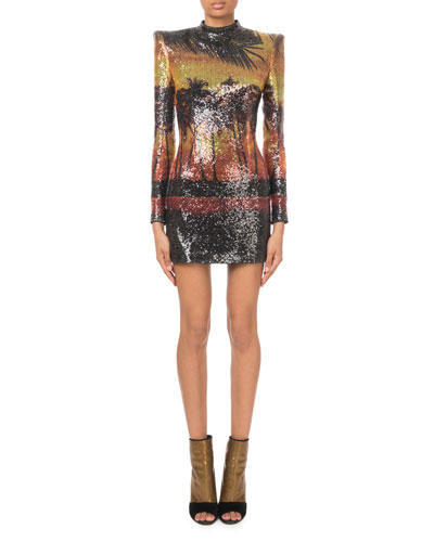Long-Sleeve Sequined Palm-Print Mini Dress