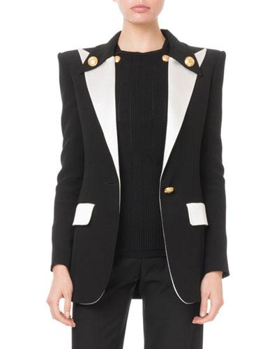Colorblocked Satin-Lapel Long Blazer Jacket