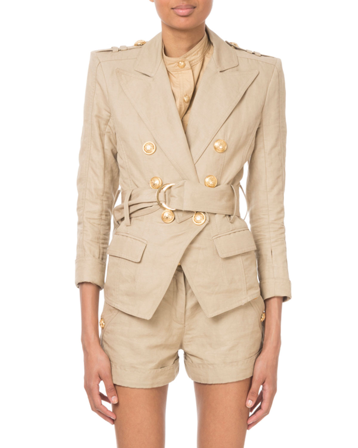 Double-Breasted Belted Safari Blazer in Tan