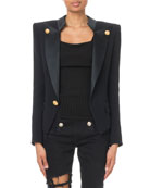 Balmain Golden-Button Open-Front Smoking Jacket