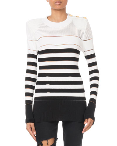 Striped Button-Shoulder Sweater