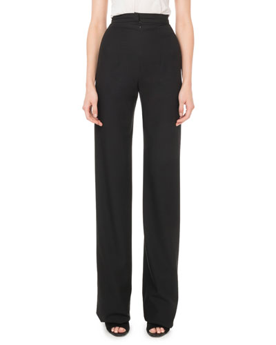 High-Rise Front-Zip Straight-Leg Wool Pants