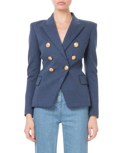 Double-Breasted Golden-Button Classic Jersey Blazer