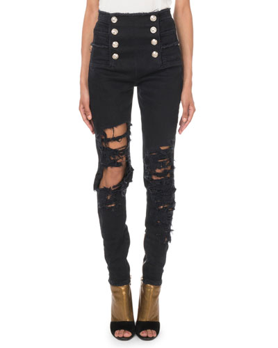High-Waist Eight-Button Destroyed Skinny Jeans