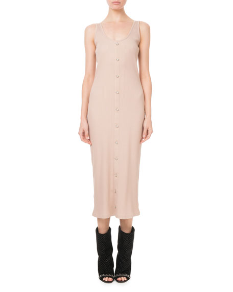 Balmain Sleeveless Ribbed Button-Front Dress