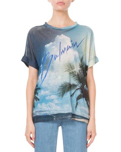 Short-Sleeve Palm-Tree Print Logo Tee