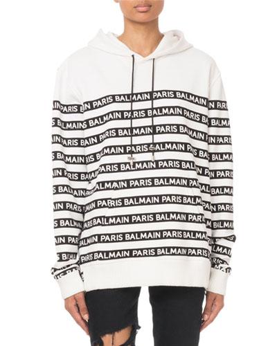 Oversized Logo-Striped Hooded Sweatshirt