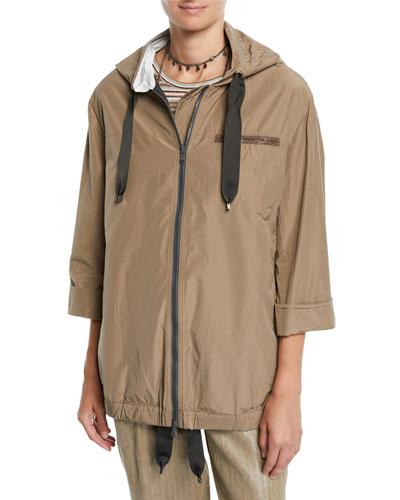 Zip-Front Hooded Taffeta Jacket w/ Monili Pocket