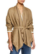 Brunello Cucinelli Belted Linen Poncho with Fringe Trim