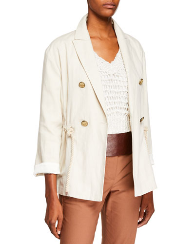 Linen-Cotton Rope-Tie Double-Breasted Jacket
