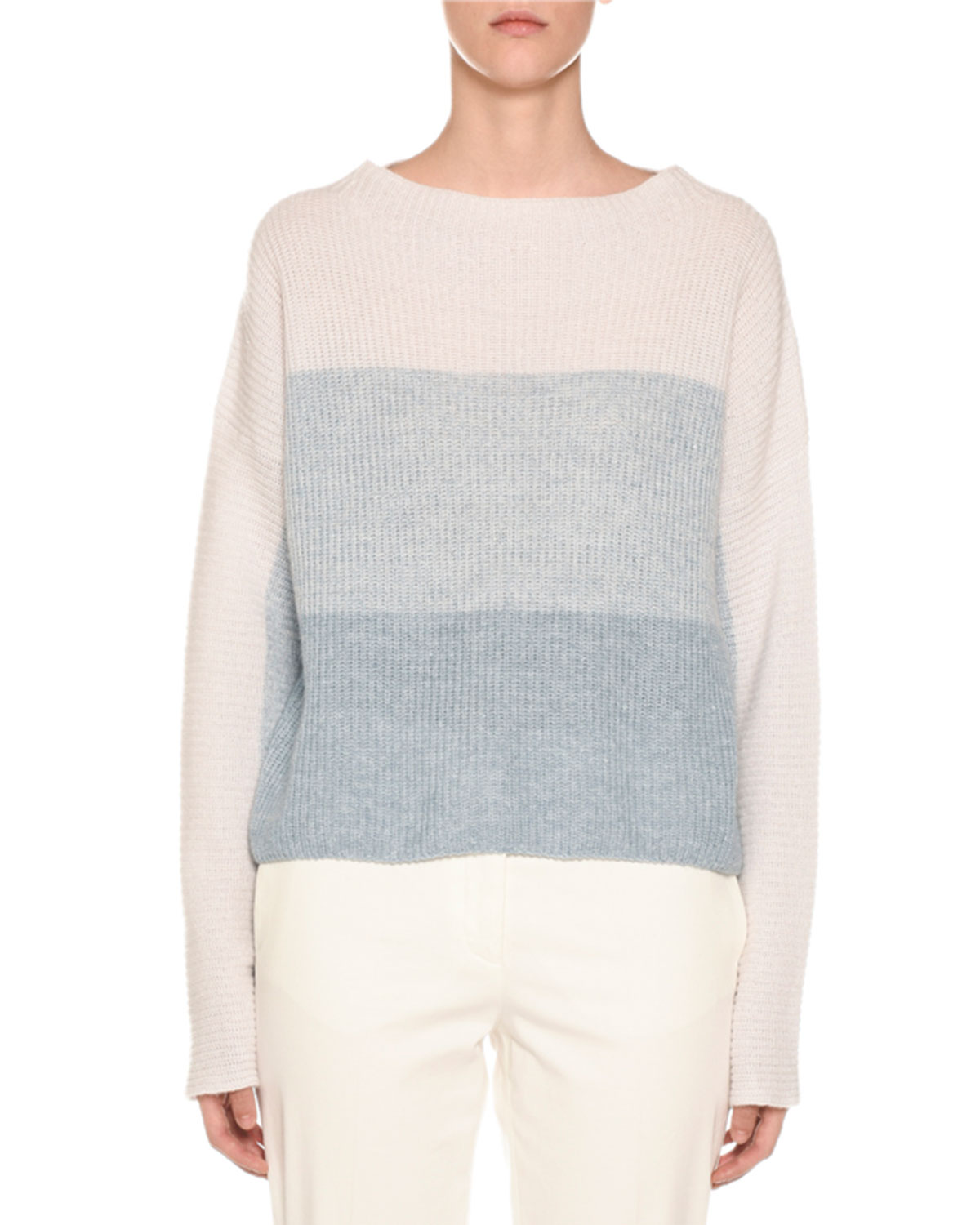 AGNONA Degrade Colorblocked Ribbed Sweater in Blue/White
