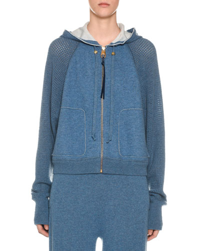 Cashmere Netted-Sleeve Zip-Front Hoodie