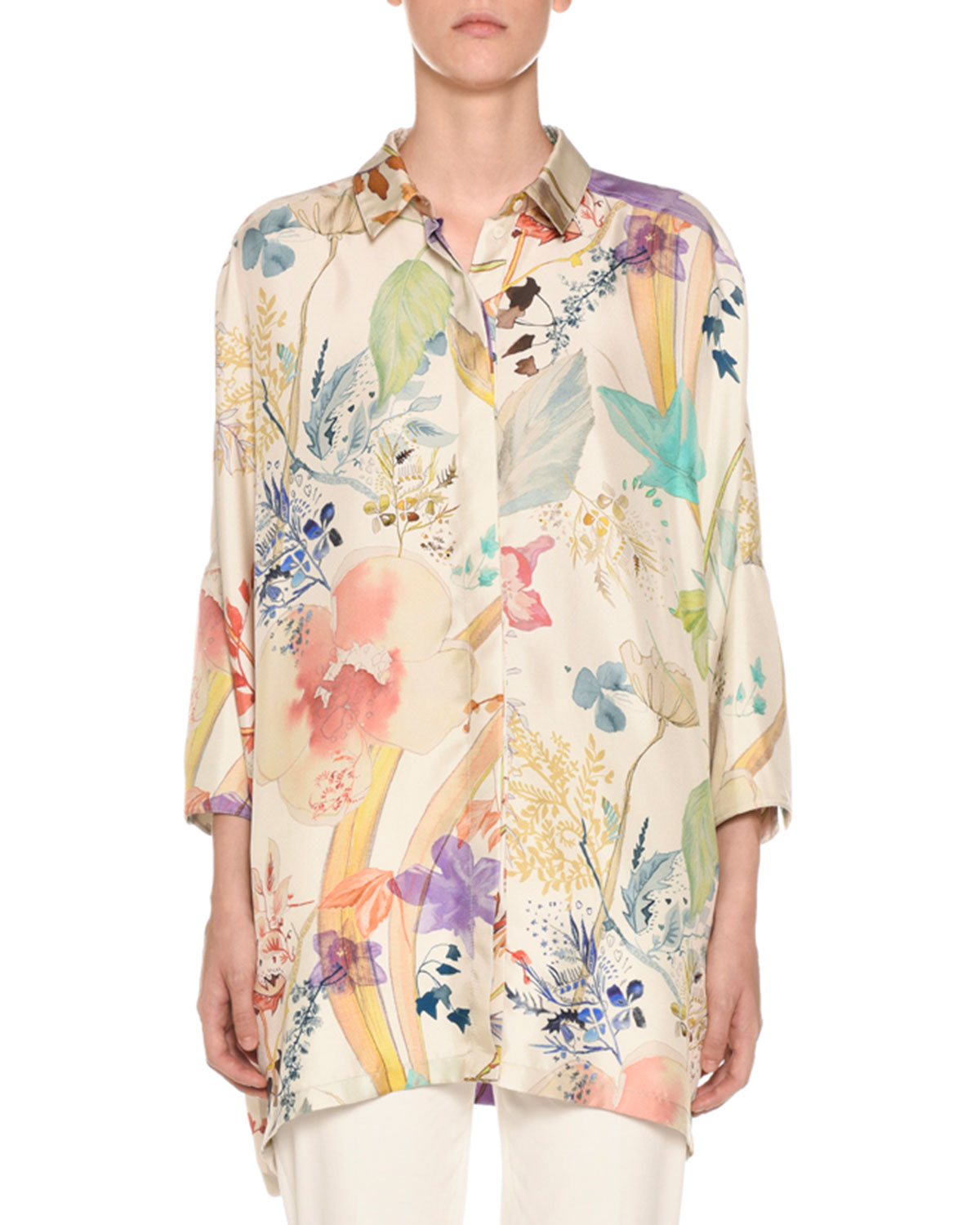 AGNONA 3/4-Sleeve Floral-Print Button Front Poncho Shirt in Beige