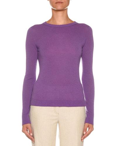 Crewneck Long-Sleeve Cashmere-Blend Sweater