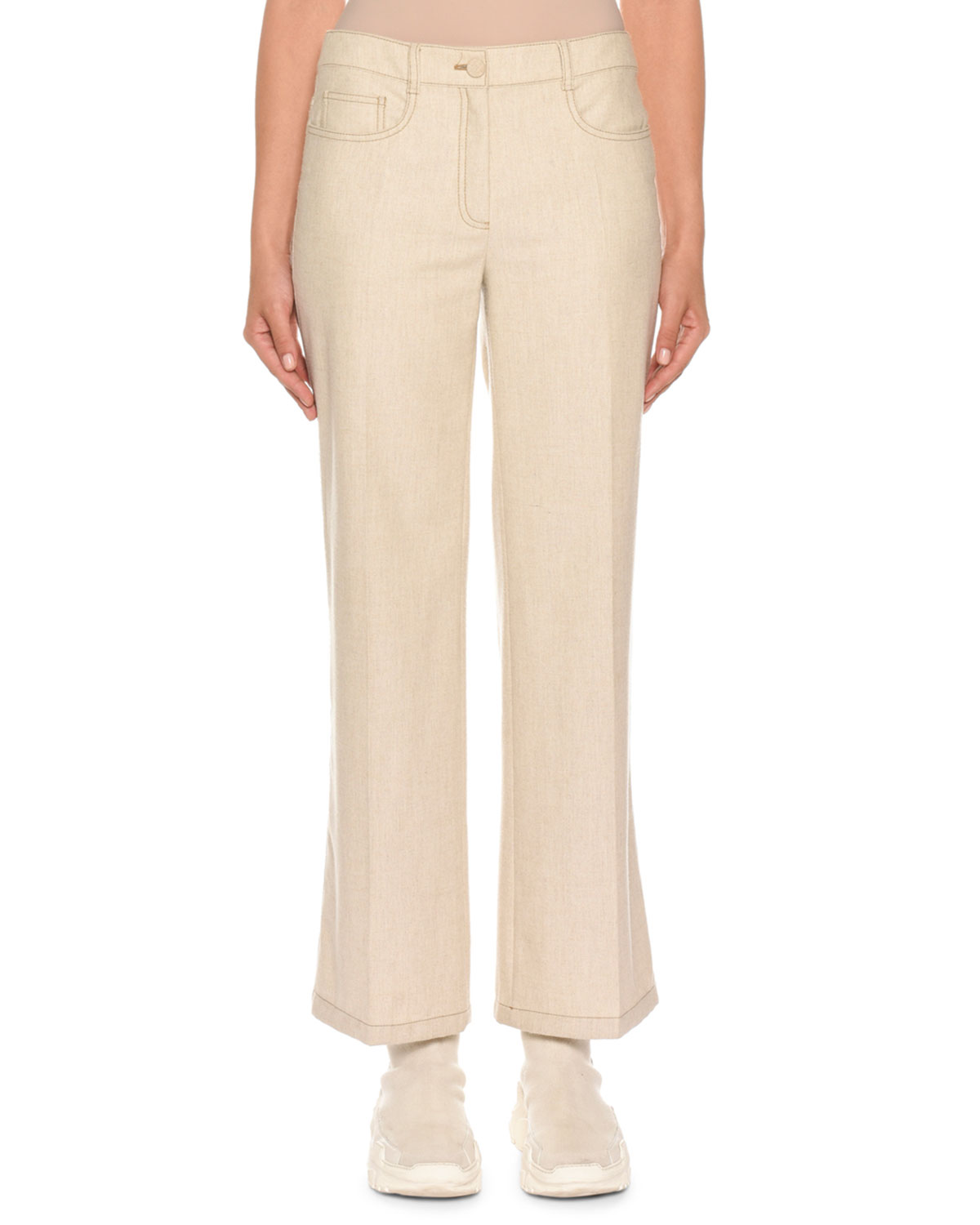 AGNONA Mid-Rise Cropped Wool Denim Trousers in Beige