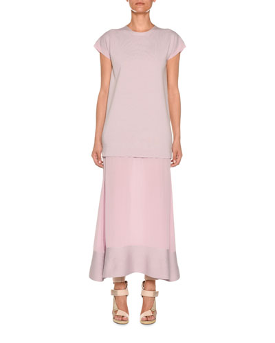 Crewneck Cap-Sleeve Wool & Crepe de Chine Dress