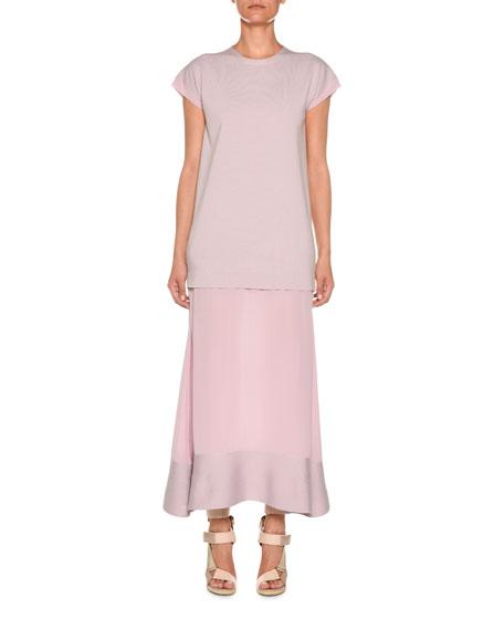 Agnona Crewneck Cap-Sleeve Wool & Crepe de Chine Dress