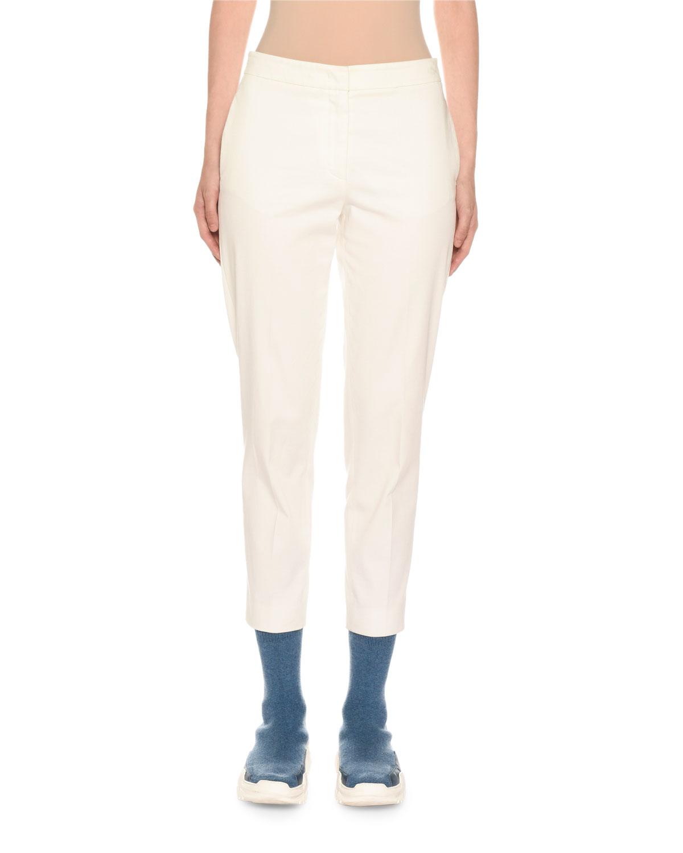 AGNONA Cotton Crepe Slim Tapered-Leg Trousers in Off White