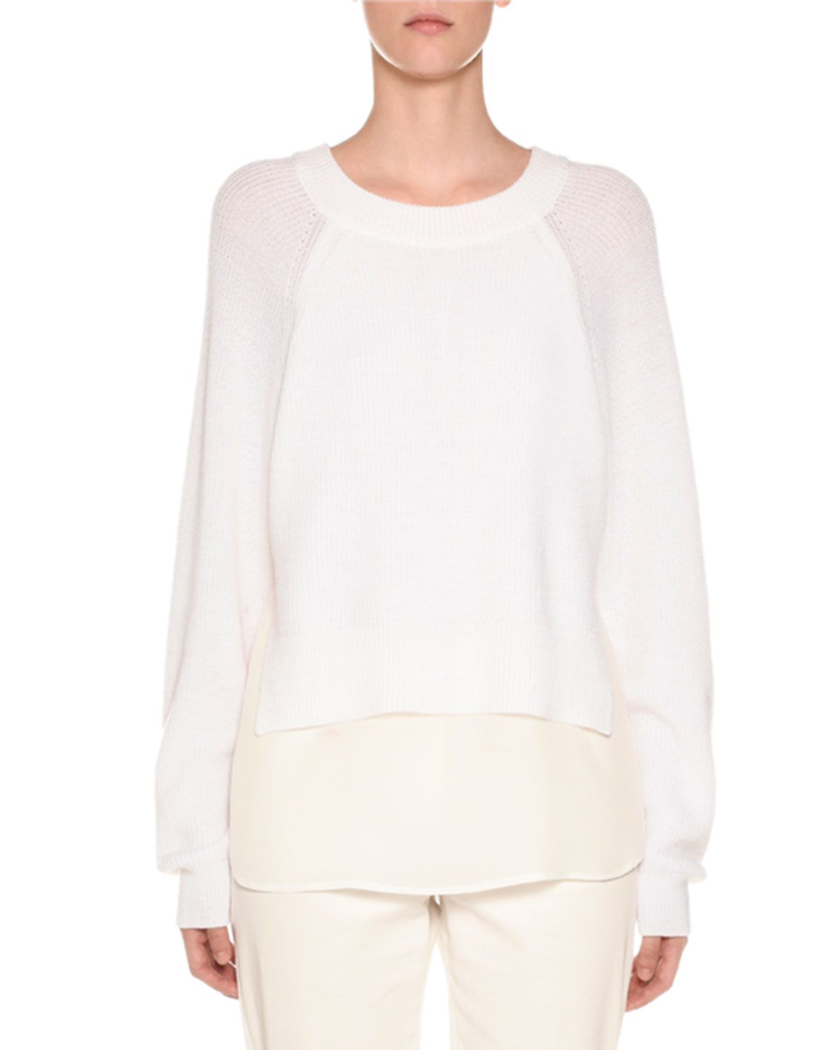 AGNONA Crewneck Wool Sweater With Crepe De Chine Slip in Off White