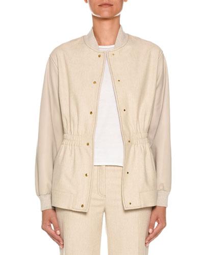 Leather-Sleeves Snap-Front Denim Bomber Jacket
