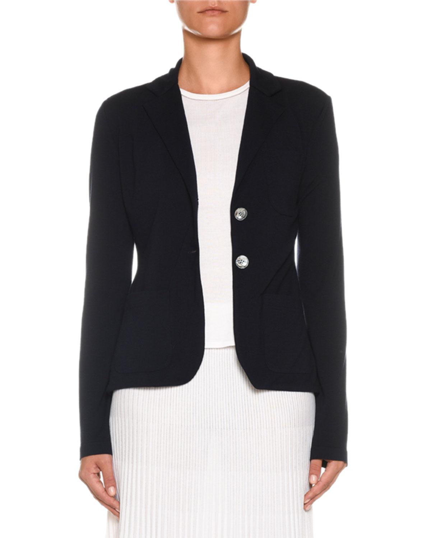 AGNONA Two-Button Merino Wool Jacket in Blue