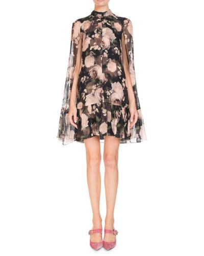 Constantine Dutch-Petal Chiffon Cape Dress