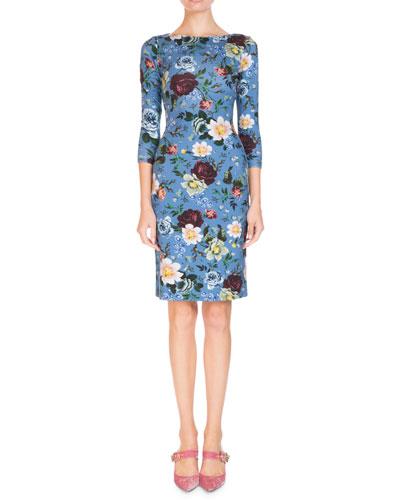 3/4-Sleeve Floral-Print Jersey Daytime Dress