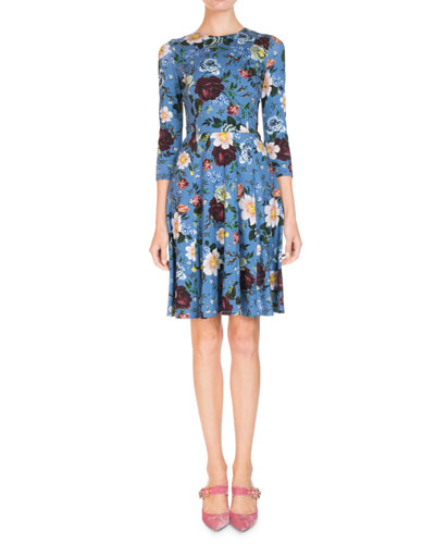 Dione 3/4-Sleeve Wallpaper Floral Dress