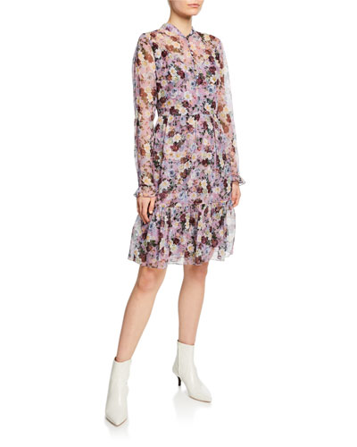 Danielle Floral-Print Button-Front Dress