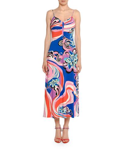 Strappy V-Neck Midi Dress