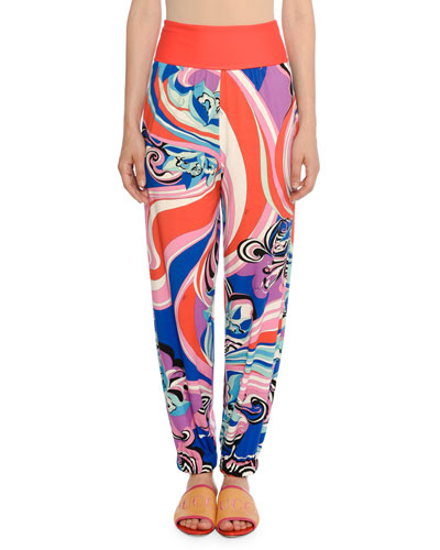 High-Rise Sapphire-Print Tapered Pants