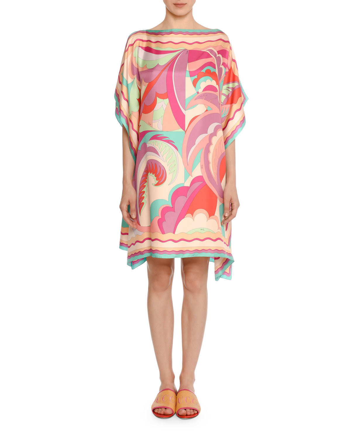 Acapulco Bateau-Neck Caftan Dress in Fuchsia