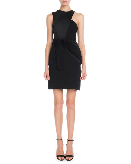 Victoria Victoria Beckham Sleeveless Crossover Pleat Mini Shift Dress