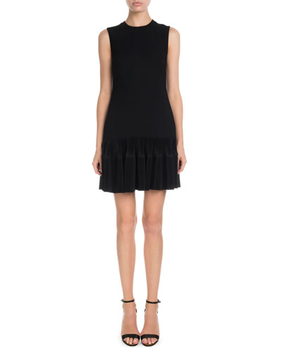 Sleeveless Round-Neck Shift Dress w/ Flounce Hem