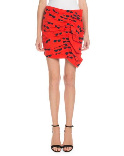 Sunglasses-Print Ruffled Mini Skirt