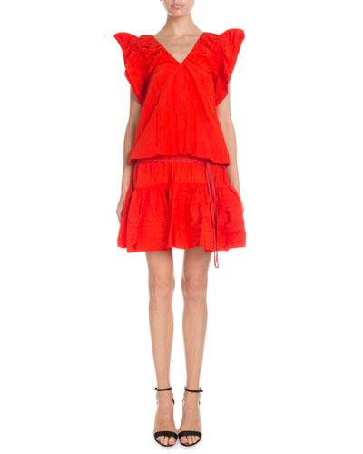 V-Neck Flutter-Sleeve Ruffled Short Dress