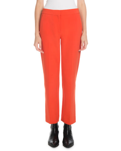 Mid-Rise Straight-Leg Wool-Blend Cropped Pants