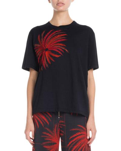 Firework-Embroidered Crewneck Short-Sleeve Cotton T-Shirt