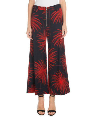 Cropped Wide-Leg Fireworks-Print Culottes