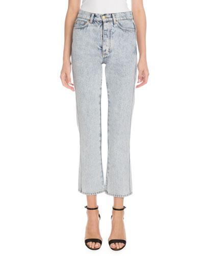 High-Waist Five-Pocket Straight-Leg Light-Wash Jeans
