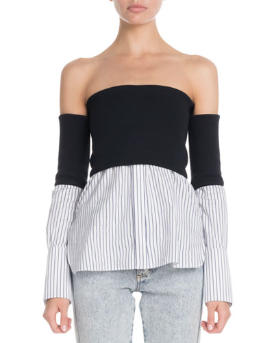 Off-The-Shoulder Striped-Hem Twofer Blouse