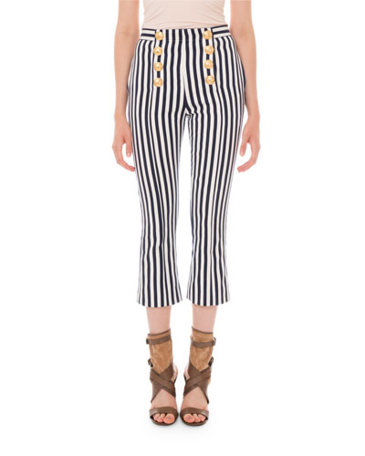 Striped Crop-Flare 8-Button Pants
