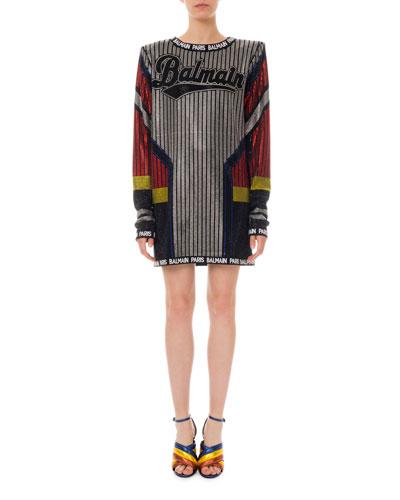 Rhinestoned Logo Sweaterdress