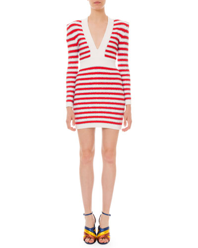 Long-Sleeve Shimmer Striped Body-Con Dress