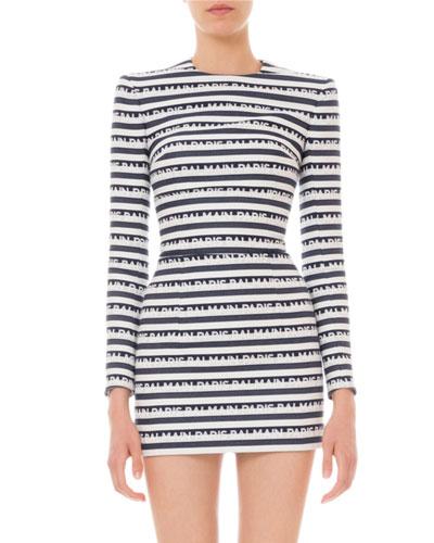 Long-Sleeve Logo-Striped Mini Dress