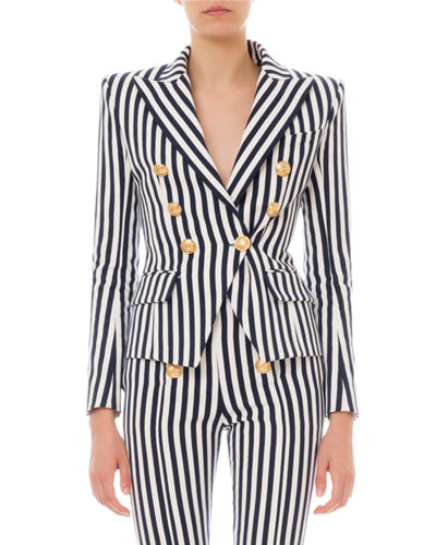 Striped Six-Button Cotton Blazer